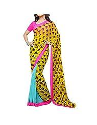Bhavi Embellished Printed Georgette Saree - B00NBXYAFO