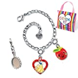 CHARM IT! Snow White, Mirror & Apple Charm Bracelet Set with Ribbon Handled Carry Pouch