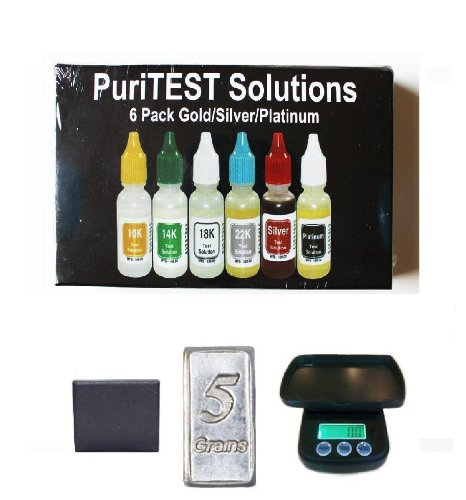 Puritest Platinum, Silver, Gold Testing Kit with Electronic Gram/Ounce Scale and Mini 5 Grains 999-fine Silver Bar