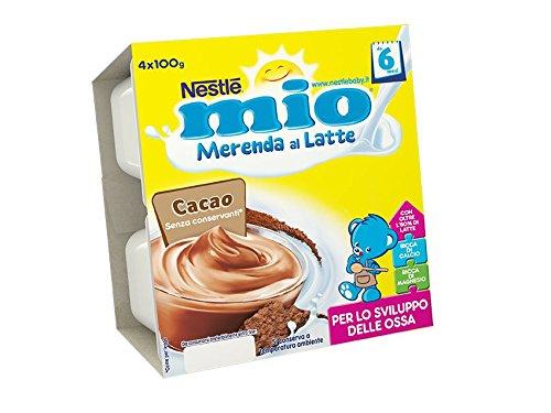 Nestle Mio Merenda al latte, cacao, senza glutine, da 6 mesi, 4 pezzi x 100g
