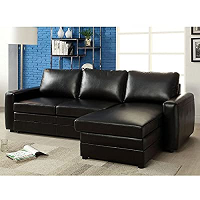 1PerfectChoice Salem Sectional Sofa Pull-Out Sleeper Bed Storage Chaise Black Bonded Leather
