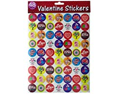 48pk valentine stickers Case of 24