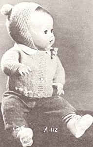 """Vintage Knitting PATTERN to make - Knitted Baby Doll Clothes 10""""-18"""" Sweater Cap. NOT a finished item. This is a pattern and/or instructions to make the item only."""