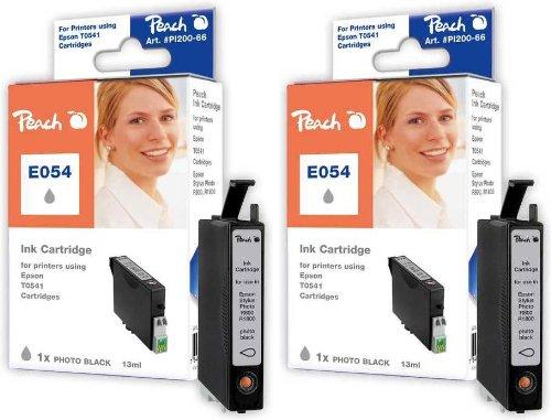 Peach PI200-329 Doppelpack Tintenpatronen kompatibel zu Epson T0541, foto schwarz