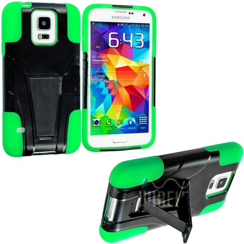 myLife TM Jet Black and Neon Lime Green - Neo Hybrid Series Built In Kickstand 2 Piece 2 Layer Case for NEW Galaxy S5 5G Smartphone by Samsung External Hard Fit Armor With Built in Kick Stand Internal Soft Silicone Rubberized Flex Gel Bumper Guard Lifetime WArranty Sealed Inside myLife Authorized Packaging ADDITIONAL DETAILS This 2 piece Galaxy S5 case comes with a built in horizontal or vertical standing kick stand that is perfect for keeping your cell phone upright while watching movies - Netflix - YouTube or just regular use