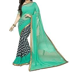 Pramukh saris Womens Georgette Printed Sari(Blue)