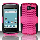 TRENDE - Huawei Ascend Y Case for H866 / M866 / H866C Hybrid Design Pink Mesh with Black Silicone Rubberized Cover + TRENDE Gift Box