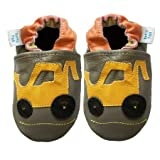 Soft Leather Baby Shoes by Dotty Fish boys Digger design Gift Boxed with leggings
