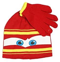 Disney Pixar Lightning McQueen Cars Winter Beanie Hat and Gloves Set, Boys 3+, Red