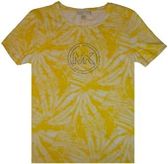 Women's Michael Kors Pullover Short Sleeved Shirt Citrus Yellow Tie Dye Size Large