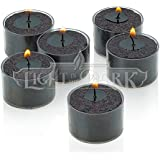 Set Of 36 Black Tealight Candles With Clear Cup Burn 8 Hour, Unscented , In A Box By Light In The Dark