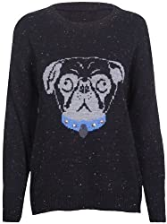 Womens Long Sleeve Pug Animal Dog Print Knitted Stretch Pullover Sweater Round Crew Neckline Studded Jumper Top from Purple Hanger