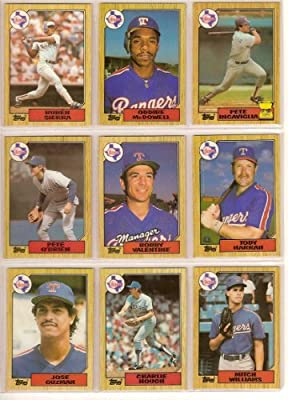 Texas Rangers 1987 Topps Baseball Team Set with Traded Cards