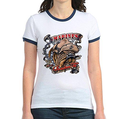 Royal Lion Jr. Ringer T-Shirt Marines Semper Fi Devil Dog Smoking - Navy/White, Small