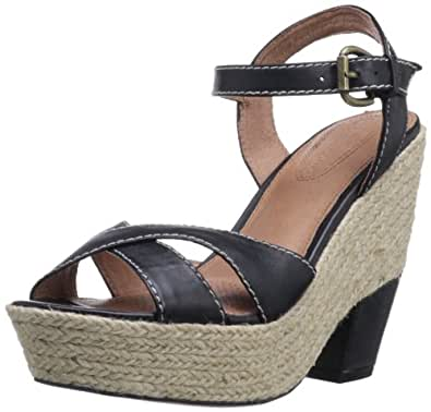 Corso Como Women's Roxi Wedge Sandal,Black Burnish Calf,8.5 M US