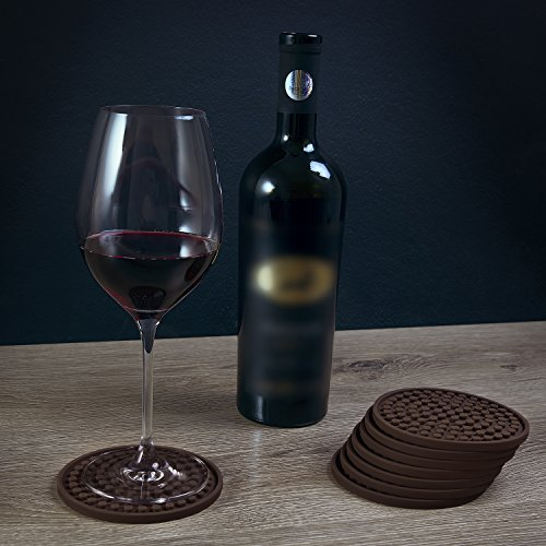 Premium 8 pack round silicone coaster by aristocrat cuisine no stains no spills best holders - Anti spill wine glass ...
