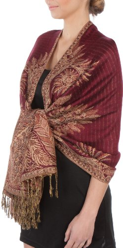 "70 x 28"" Big Paisley Jacquard Double Layer Woven Pashmina Shawl / Wrap / Stole - Burgandy"""
