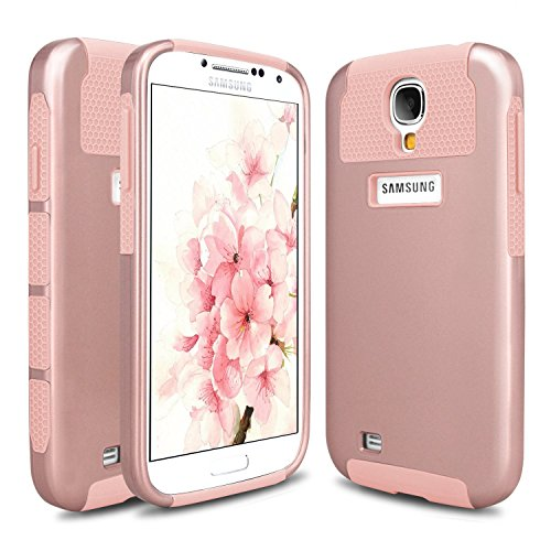 S4 Case, Galaxy S4 Case, Hinpia Samsung Galaxy S4 Case 2in1 Slim Fit Hard Impact Hybrid Dual Layer Shockproof Bumper Case Cover for Samsung Galaxy S4 - Rose Gold/Rose Gold (Samsung Galaxy Mini Girl Cases compare prices)