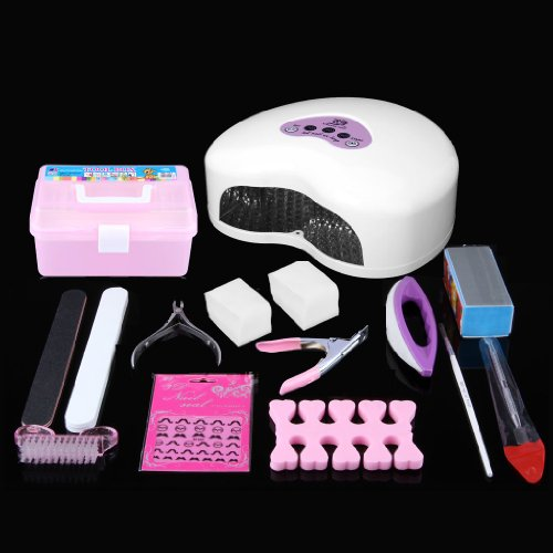 Cherry Nail 12W Led Elegant Nail Dryer Light/Lamp Gel Curing Nail Polish Dryer With Cold Light And Fast Dry Time + Professional Nail Art Kit (White)