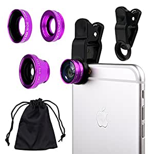 Universal 3 in1 Camera Lens Kit for Smart phones includes One Fish Eye Lens / One 2 in 1 Macro Lens and Wide Angle... by CamKix