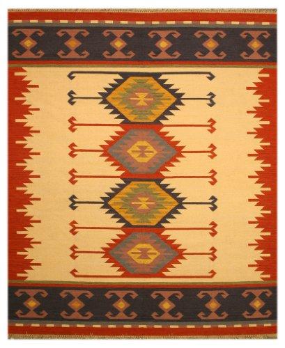 EORC DN1MU Handmade Wool Keysari Kilim Rug, 8.4 by 10-Feet, Ivory