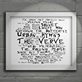 `Noir Paranoiac` Art Print - THE VERVE - Urban Hymns - Signed & Numbered Limited Edition Typography Wall Art Print - Song Lyrics Mini Poster