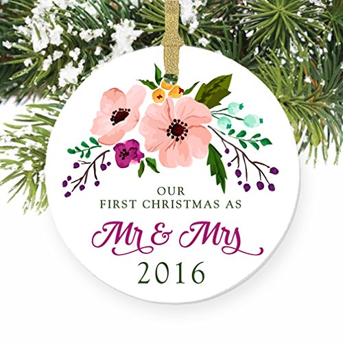 Floral Mr & Mrs Ornament 2016, 1st Married Christmas Porcelain Ornament, Calligraphy First Married Christmas, 3