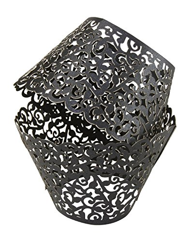 Yansanido 100 set pink Filigree Artistic Bake Little Vine Lace Laser Cut Cupcake Wrapper Cup Muffin Case Trays Collars Wrappers (100pcs black)