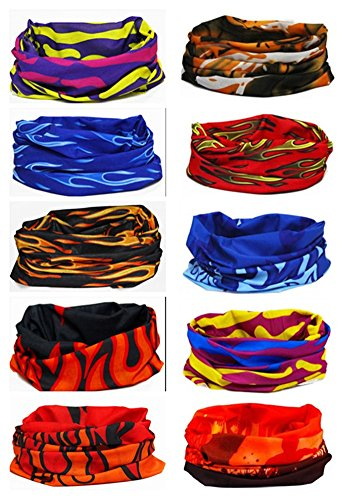 Multi-use Seamless Headband Tube Face Mask Headwrap Fashion Scarf 10 Pack (Style 7)