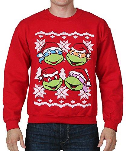 Teenage Mutant Ninja Turtles Faces Adult Red Ugly Christmas Sweatshirt (Adult Large)