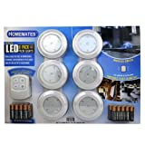 Homemates LED Wireless Puck Lights with Remote - 6 pk.