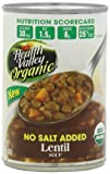 Health Valley Organic Lentil Soup No Salt Added, 15 Ounce Cans (Pack of 12)