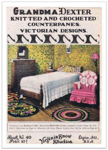 Princess of Patterns PATTERN No.2234 VICTORIAN LACE BEDSPREAD and LOTUS FLOWER 3-PIECE CHAIR SET VINTAGE CROCHET at Sears.com