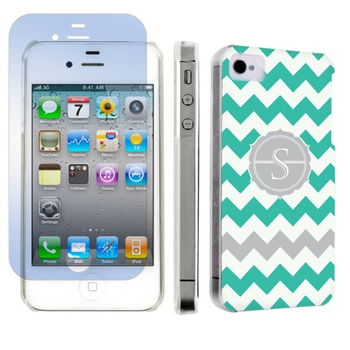 Skinguardz Apple Iphone 4 Or 4S Ultra Slim Hard Case + Screen Protector - (Mint Chevron Monogram Initial S) front-719356