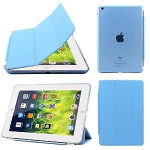 BMS Ultra Thin Smart Flip Foldable Flip Case cover for Apple iPad Mini 1 & 2 Retina Tablet with stylus + FREE Anti Radiation Chip (sky blue)