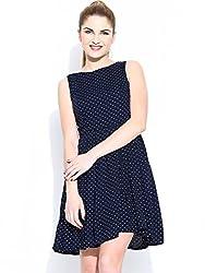 Mastani Kreation's Nevy Blue Polka Dots Fully Stitched Western Dress