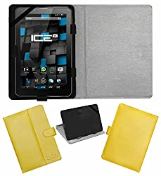 Acm Leather Flip Flap Case For Ice Spectra Beat Tablet Cover Magnetic Closure Stand Yellow