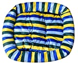 (シービレッジ)Sea Village ストライプ カラフル な ぐっすり ふわふわ ペット ベッド 小型犬 猫 用(ブルー,M)