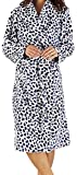 Ladies Luxury Soft Fleece Blue Dalmation Dressing Gown Bath Robe House Coat with Belt and Shawl Collar