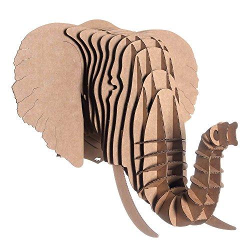 EYAN large, éléphant trophée en carton, Cardboard Safari