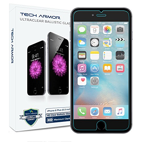iPhone 6S Plus Glass Screen Protector, Tech Armor Premium Ballistic Glass Apple iPhone 6S / iPhone 6 Plus (5.5-inch) Screen Protectors [1] (Bubble Pack Case compare prices)