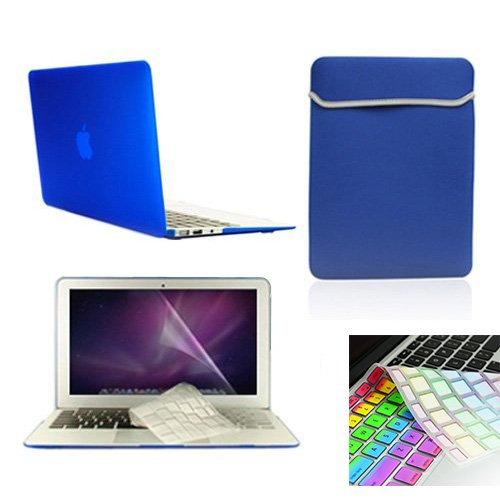 """Macbook Air 11"""" (A1370 And A1465) 6 In 1 Bundle - Aco-Uint® Rubberized Hard Case Cover + Matching Color Soft Sleeve Bag + 2 Keyboard Cover(One Transparent And One Colorful) + Lcd Hd Clear Screen Protector + Aco-Uint® Microfiber Cleaning Cloth (Royal Blue)"""