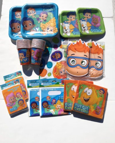 Deluxe Bubble Guppies Party Supplies for 16 Guests (Cups, Plates, Table Cover, Invitations, Napkins, Masks, Loot Bags)