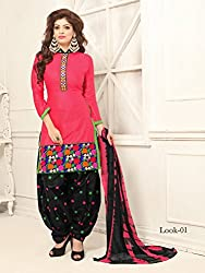 ARAJA NEW DESIGNER COLLECTION GOOD LOOKING PINK&BLACK COLOR COTTON EMBROIDERED UNSTICHED FESTIVAL,MARRIAGE AND PARTY WEAR PATIYALA HAND EMBROIDERED DRESS MATERIAL