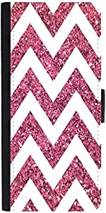 Snoogg Chevron Pinks Graphic Snap On Hard Back Leather + Pc Flip Cover Samsun...