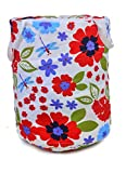 Round White/Red Flower Print Laundry Bag