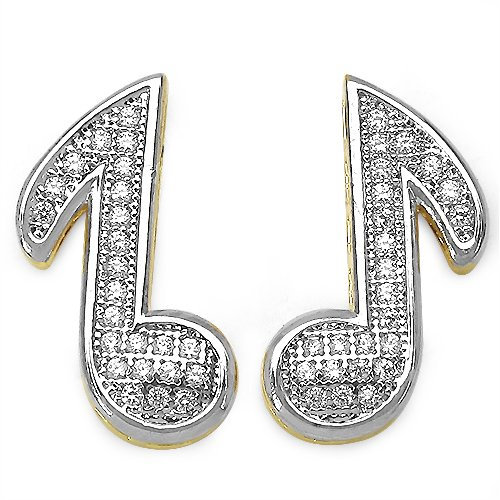 3.10 Grams Micro Pave Setting American Diamond Gold Plated Copper Musical Note Shape Earrings