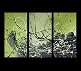 ABSTRACT CANVAS PAINTING, WALL ART lime green grey