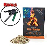 Instafire Fire Starter Kit, Includes Durable Mylar Pack Lights up to 4 fires, ECO Friendly - Use at Campfire, Fireplace, Cooking, Charcoal, Emergency, with Bonus Magnesium Flint Strike Stone