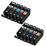 Shop At 247 ® Compatible Ink Cartridge Replacement for Canon PGI-225 + CLI-226 (2 Large Black, 2 Small Black, 2 Cyan, 2 Yellow, 2 Magenta, 10-Pack)